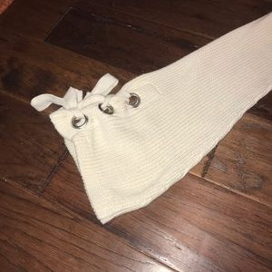 Mono B Sweaters - Ivory Tie Sleeve Sweater